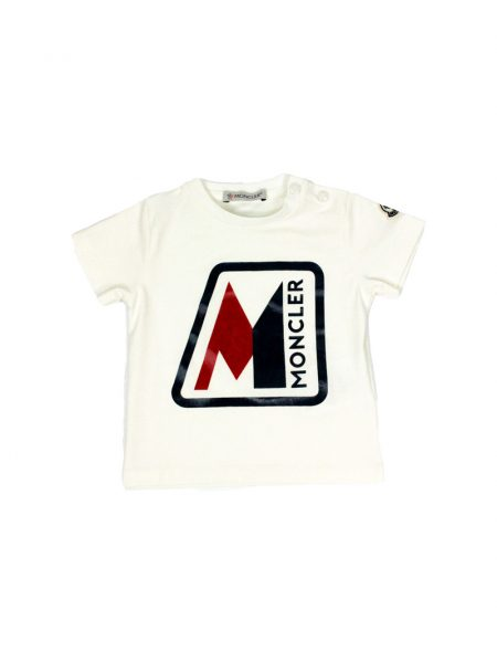 T-shirt Moncler Baby con logo gommato color Bianco