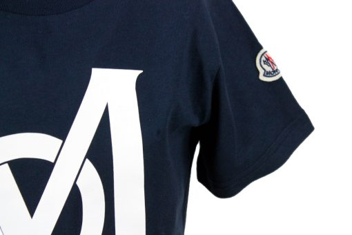 T-shirt Moncler in jersey di cotone con Logo stampato Blu (G19548C74220)