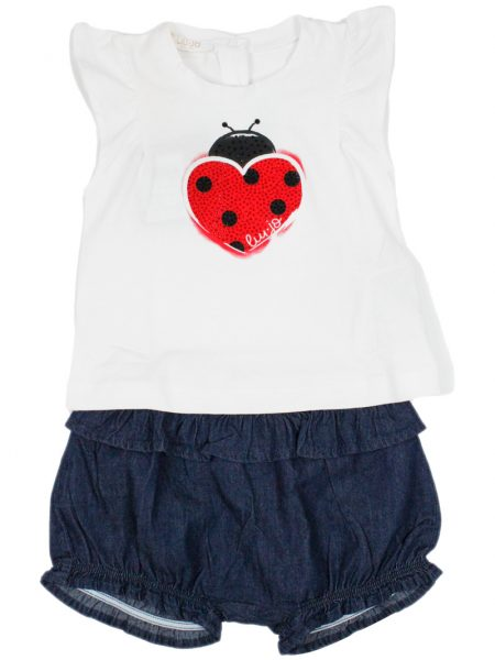 Completo Liu-Jo Baby t-shirt con strass e rouches shorts in denim (HA1017)