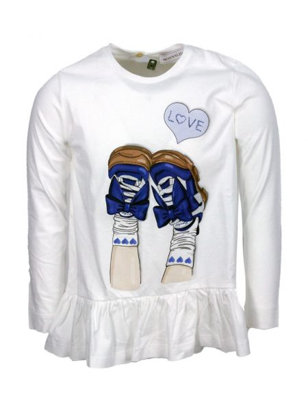 T-shirt Monnalisa in cotone con stampa sneakers colore Bianco (118632PS)